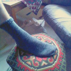 Custom knit socks worn with pride!