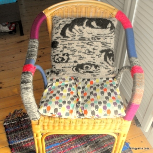 yarn bombing chair birch cushion