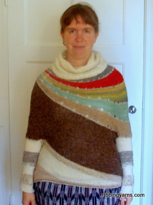Enchanted Mesa by Stephen West is done! I absolutely love it. Made of handspun and scrap yarns